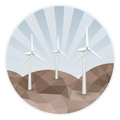 Three wind turbines on rocks.