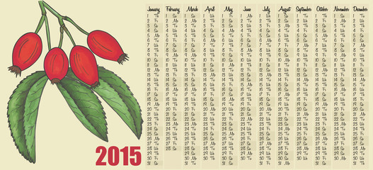 2015 calendar with Rosehips
