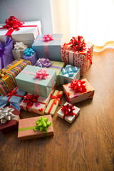 Colorful wrapped gift boxes
