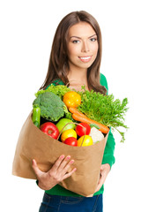 Woman with bag of vegetarian food, on white