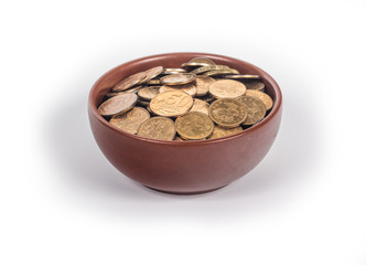 bowl with gold coins