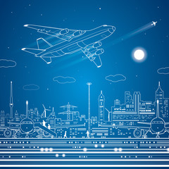 Airport, airplane fly, city infrastructure, vector lines design