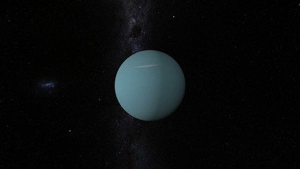 Planet Uranus with Milky Way galaxy
