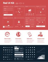 Red UI Kit for designing websites & mobile apps