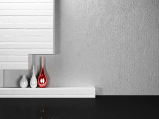 the vases on the shelf