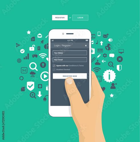 Login / Register screen on mobile phone - 72043483
