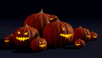 Spooky Halloween jack-o'-lanterns with evil glowing faces