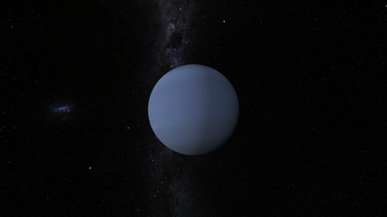 Planet Neptune with Milky Way galaxy
