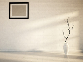 empty room with a picture and a vase