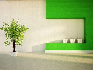 a plant in the white vase
