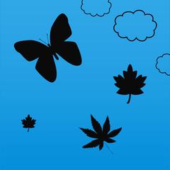 Décor papillon et feuilles silhouettes fond bleu