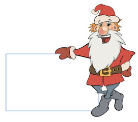 Santa Claus with an empty blank cartoon