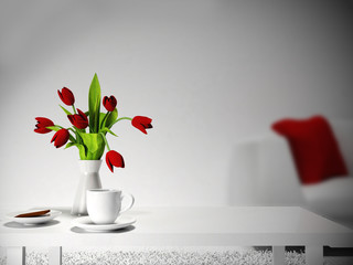 red flowers on the  table