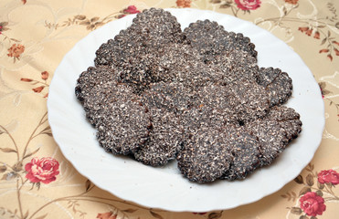 Chocolate cookies with coconut