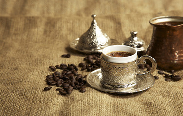 Traditional Turkish Coffee cup and saucer concept