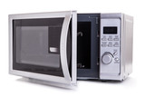 Silver microwave oven with open door