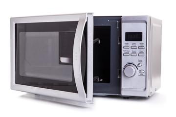 Silver microwave oven with open door