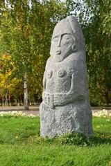 Stone statue in nomad style in Astana, Kazakhstan