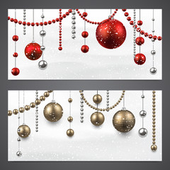 Banners with christmas baubles.