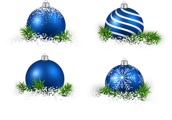 Set of realistic blue christmas balls.