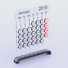 January 2015 futuristic calendar concept