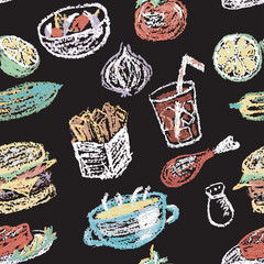 Hand drawn restaurant menu elements. Seamless pattern.