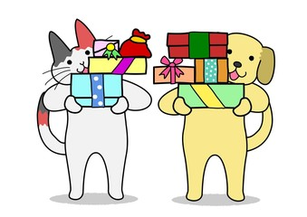 犬と猫 プレゼントを渡す