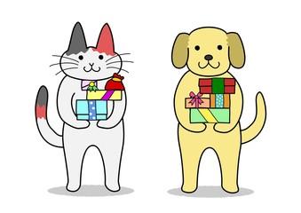 犬と猫 プレゼントを持つ