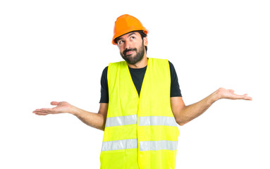 Workman having doubts over isolated white background