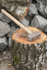 big hammer on birch stump