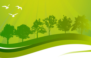 abstract green composition with gulls and trees