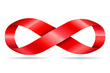 red ribbon in shape limitless, infinity symbol - 72048237