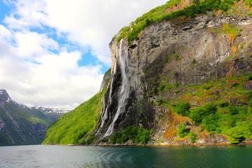 sevsn sisters waterfall - geirangerfjord, norway