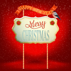 Christmas Vintage card with Signboard. EPS 10