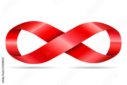 czerwona wstążka w kształcie nieograniczona, symbol nieskończoności