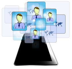 Illustration of tablet with business people isolated