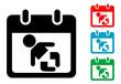 Pictograma calendario con simbolo bebe con varios colores