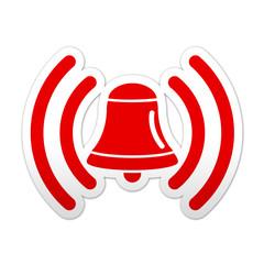 Pegatina simbolo rojo campana de alarma