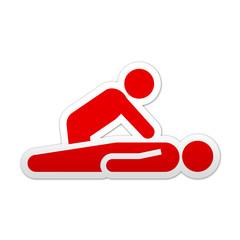 Pegatina simbolo rojo reanimacion cardiaca