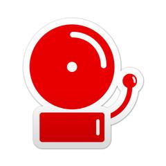 Pegatina simbolo rojo timbre de alarma