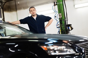 Man on a car wash