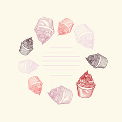 Circular pattern of cupcakes with chalks. Sketches hand-drawn.