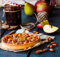 tart with pear jam, apples and caramel