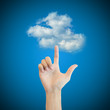 Hand man touch the cloud technology concept