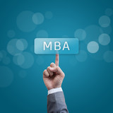 MBA. hand man pressing mba button. poster