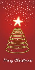 Merry Christmas pino neón con fondo rojo y estrellitas