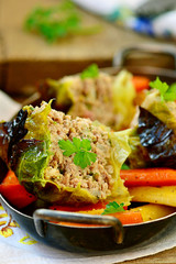 baked pudding from a Savoy cabbage with meat