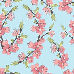 Cherry branch in blossom. Seamless texture.