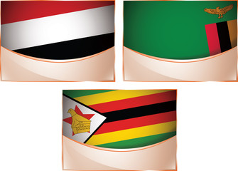 Three banner flags illustration, Yemen, Zambia, Zimbabwe