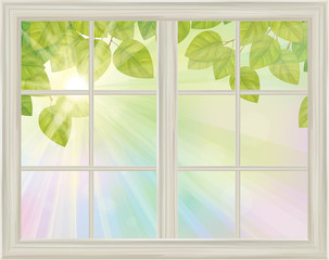 Vector window with spring view green leaves on sunny background.